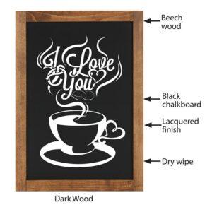 Kreidetafel mit dunkelbraunem Holzrahmen mit Metall Kreidetafel magnetisch beschriftet mit Kaffee
