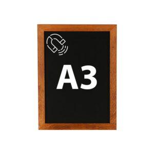 Magnetische Kreidetafel DIN A3 mit dunkelbraunem Holzrahmen Slide In
