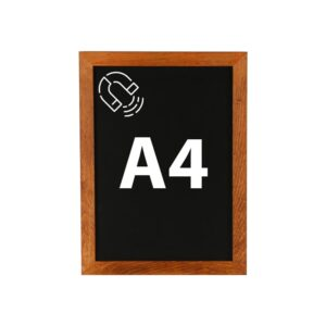 Magnetische Wandkreidetafel DIN A4 mit Holzrahmen dunkelbraun online kaufen