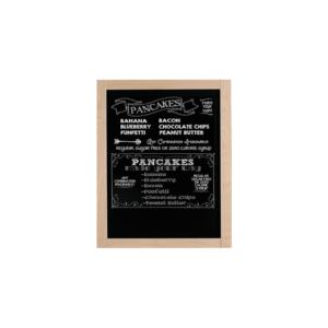 kleine beschriftete Kreidetafel mit hellem Holzrahmen in Buche, Wandkreidetafel mit schwarzer Kreidetafelfläche 30x40cm