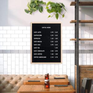 Letterboard Securit 60x80cm mit Acrylbuchstaben für verschiedene Kaffeesorten