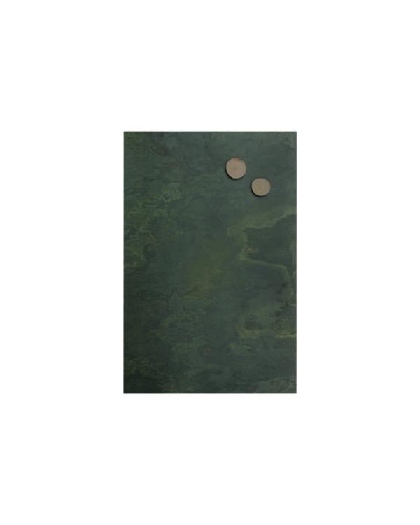 Schiefertafel klein grünes Muster für Zuhause und Restaurants, Wandkreidetafel magnetisch aus echtem Schiefer 30x61cm