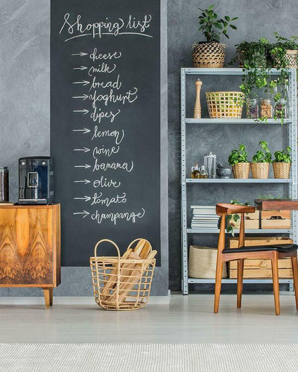 Folie für Kreide selbstklebend auf Wand und Wandtafeln beschriftet mit Kreide Einkaufsliste
