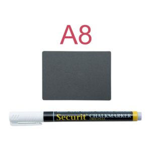 Mini Kreidetafel A8 inklusive Kreidemarker, Spikes und transparenten Haltern