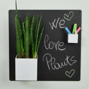 Kreidetafel ohne Rahmen magnetisch schwarz ohne Rahmen gepinnt mit Fotos und magnetischem Pflanzentopf
