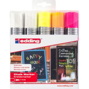 Edding Kreidemarker 4090 5er-Set farbig + 2x weiss