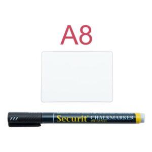Preisschilder Kreidetafel weiss beschriftbar mit schwarzen Kreidemarkern, A8 Kreidetafel Tags weiss Securit