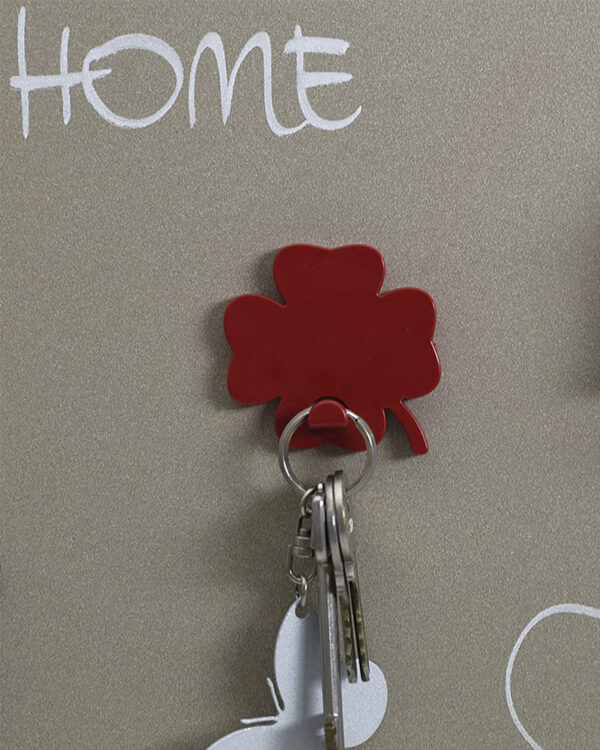 Kleeblatt Schlüsselanhänger magnetisch rot
