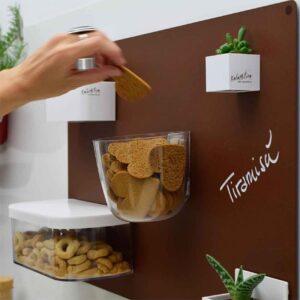 Behälter für Esswaren magnetisch rund mit Deckel weiss Kalamitica