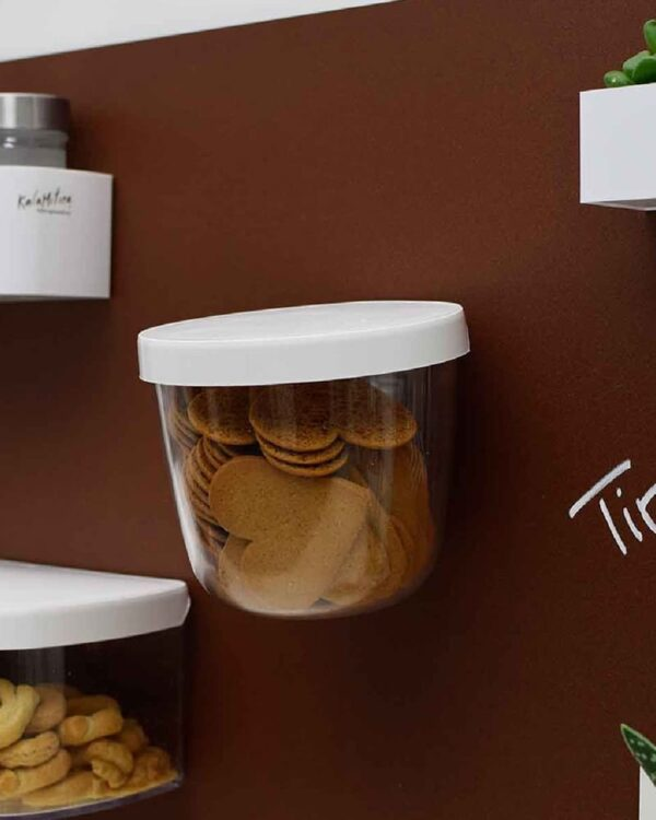 Magnetischer Behälter für Esswaren mit weissem Deckel