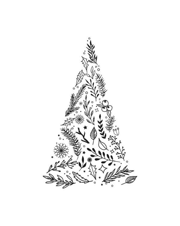 Fensterschablone Weinachtsbaum zum Nachzeichnen