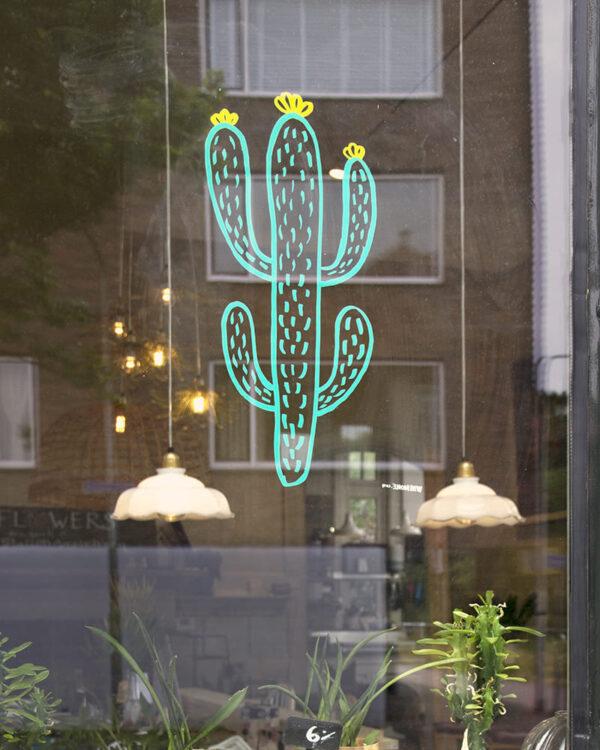 Kaktuspflanze Fensterschablone nachgezeichnet