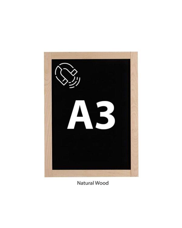 Magnetisch Kreidetafel DIN A3 mit Holzrahmen Slide In