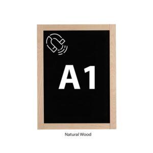 Magnetische Kreidetafel DIN A1 mit Holzrahmen natur Slide In
