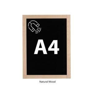 Magnetische Wandkreidetafel DIN A4 Holzrahmen Natur Slide In