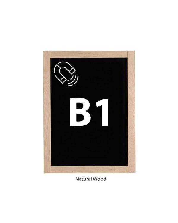 grosse Kreidetafel magnetisch mit naturbelassenem Holzrahmen Format B1